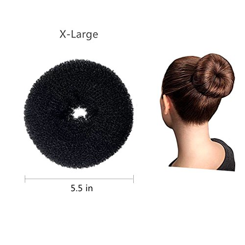 ClothoBeauty 1 Pcs Extra Large Size Hair Bun Donut Maker, Ring Style Bun, Women Chignon Donut Buns Doughnut Shaper Hair Bun maker (For Thick and Long Hair)5.5 in, (X-Black)