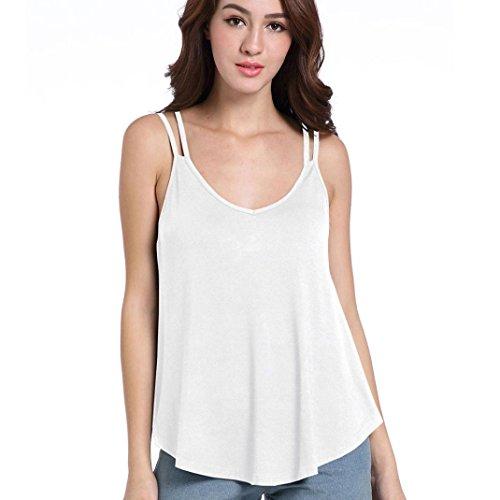 Smileq Débardeur sans manches Femme femmes solide Courroie décontracté plissé Chemisier Camis irrégulière T-shirt Gilet