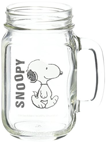 ICUP Peanuts Snoopy Walking Handled Glass Mason Jar, Clear by ICUP