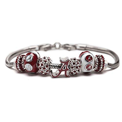 University of Alabama Charm Bracelet | Crimson Tide Gifts | Stainless Steel Alabama Jewelry | Alabama Logo Charm Bracelet
