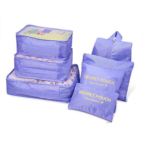Travel Packing Cubes 6 Pack, Balala Various Sizes Packing Organizers for Backpack, Purple by balala