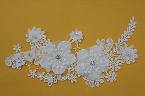 Beaded Dimensional Embroidery (White beaded lace 3D dimensional flowers DIY clothing accessories wedding dress shoes, bags and other clothing, factory outlets)