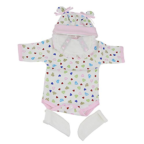 MagiDeal Hearts Printed Romper Hat Set Outfits for 16-17inch Reborn Baby Girl Doll