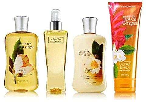 Bath and Body Works White Tea & Ginger Deluxe Gift Set ~ Body Cream ~ Body Lotion ~ Shower Gel & Fine Fragrance Mist Full Size