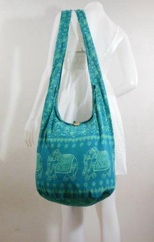 Turquoise Hippie Hobo Boho Vintage Elephant Sling Cotton Yam Buddha Crossbody Shoulder Messagenger Bag Purse Tote EB15