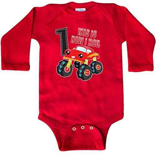 inktastic - Monster Truck How I Roll 1st Long Sleeve Creeper 18 Months Red 35b3d