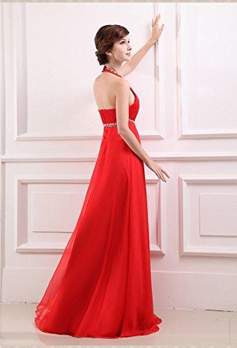 Ausschnitt Kleid lang formale Beauty Emily Damen V Abend Chiffon Rot qaWta7Yv