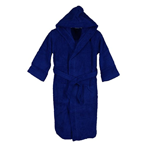 Silken Kids Teenagers Boys Hooded Robe Unisex 100% Turkish Cotton Terry Bathrobe (X-Large 44