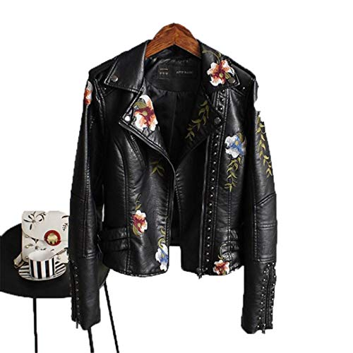 (KEYUEyurei Women Floral Print Embroidery Faux Soft Leather Jacket Coat Turn-Down Collar Casual Pu Motorcycle Punk Outerwear 1 L)
