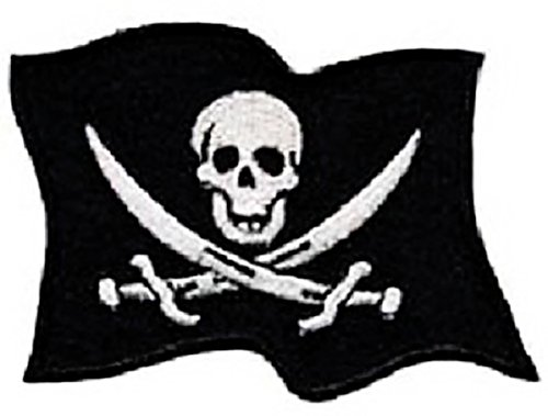 """[Single Count] Custom and Unique (2.25"""" x 2.9"""" Inches) Waving Skull & Crossed Swords Jolly Roger Pirate Flag Iron On Embroidered Applique Patch {Black & White Colors}"""