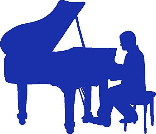 hBARSCI Pianist Vinyl Decal - 11 Inches - for Walls, Windows, Doors, Vehicles, Outdoor-Grade 2.5mil Thick Vinyl - Royal Blue