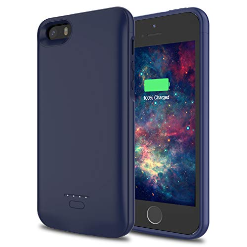 Battery Case for iPhone 5/5S/SE, Paisue 4000 mAh Ultra Slim Rechargeable Extended Charging Case for iPhone 5/5S/SE Portable Power Bank Protective Charger Case - Blue