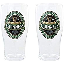 Guinness Green Collection Pint Glasses, 20 Ounce, Set of 2 - Beer Glass for Bar and Kitchen