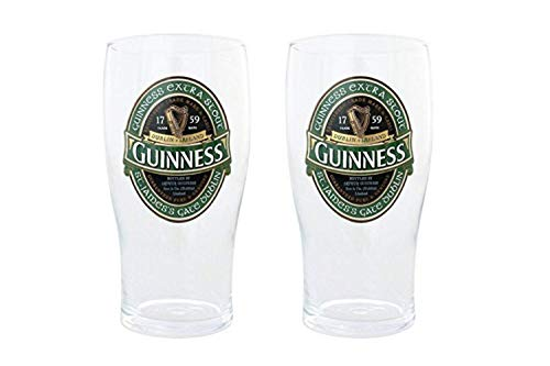 Guinness Green Collection Pint Glasses, 20 Ounce, Set of 2 - Beer Glass for Bar and Kitchen (Pint Guinness)