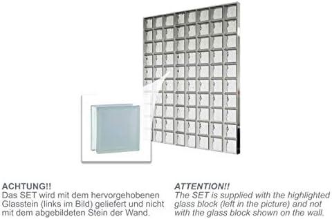 Bloques de vidrio mamparas de ducha JUEGO COMPLETO 156x195 cm – riva SUPER white satinado por dos lado 19x19x8 cm – diferentes versiones disponibles: Amazon.es: Bricolaje y herramientas