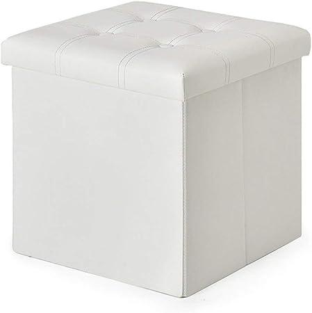 Dongy Almacenamiento Plegable heces Caja Puf Puf Cube MDF Puf Asiento Cuadrado con Puff Cubrir y