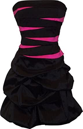 Strapless Bandage Mini Bubble Dress Prom Party Formal Gown, XS, Black-Fuchsia