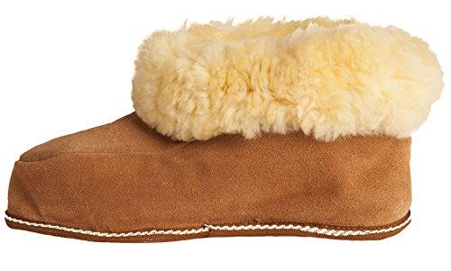 Pantofole babbucce comode e morbide per uomo/donna in pelle d'agnello - maronne - misure 35-47 di BRUBAKER Nuove!