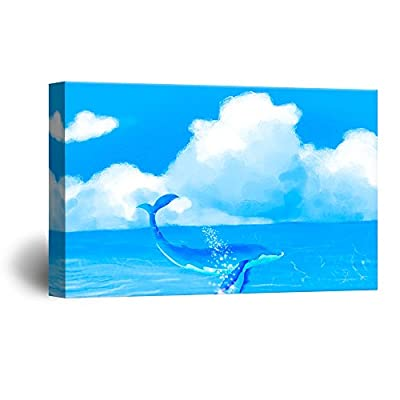 Lovely Design, That You Will Love, Hand Drawing Style Blue Whale Swimming in The Ocean