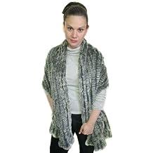 FursNewYork Ruffled REX Chinchilla Knitted Shawl w/Pockets