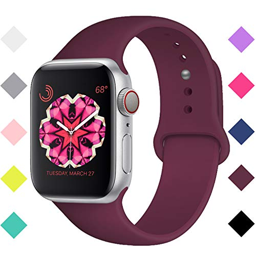 Booyi Compatible with Apple Watch Band 38mm 40mm, Soft Silicone Sport Band Replacement Wrist Strap Compatible with iWatch Series 4 3 2 1 Wine Red