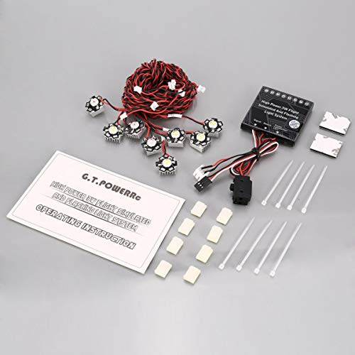 Kmtar G.T Power High Power 3W Flight Simulated Flashing Light System with Led Control Box Aircraft Lights for RC Fixed Wing