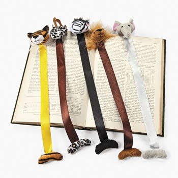 12 Plush Zoo Animal Bookmarks