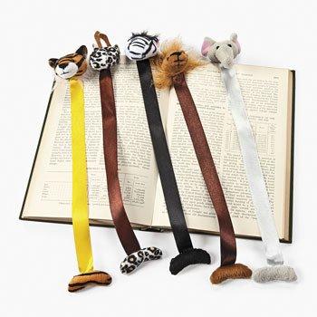 12 Plush Zoo Animal Bookmarks