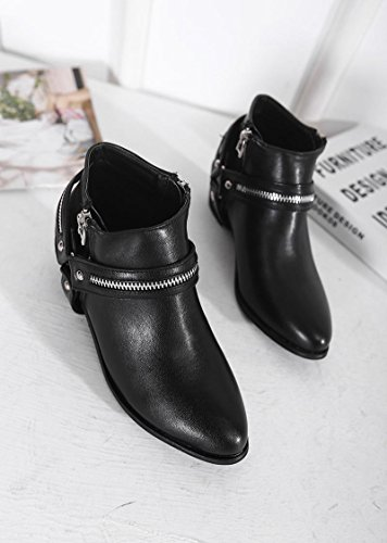 LvYuan-mxx Las mujeres ponen en cortocircuito los cargadores / el verano y la resorte / Zipper señaló el dedo del pie / talón grueso / oficina y carrera / vestido / ocasional / zapatos de tacón alto , 40-BLACK