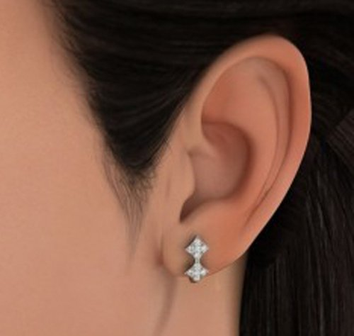 18 K Or Blanc 0,36 CT TW Round-cut-diamond (IJ | SI) Boucles d'oreilles créoles