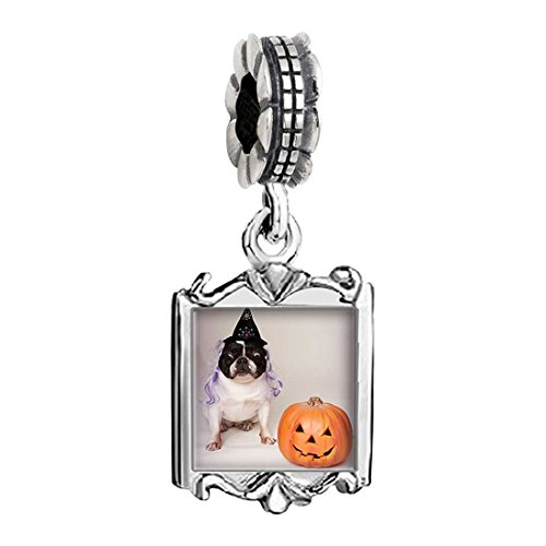 [bulldog witch costume Halloween pumpkin Family Mom & Baby Girl & Dad Dangle Bead Charm Bracelet] (Family Halloween Costumes With Baby And Dog)