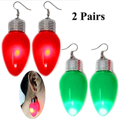 Joyin Toy 2 in 1 LED Light Up Bulb Christmas Flashing Earring and Necklace for Holiday Party Favors (2 Pack) for $<!--$9.95-->