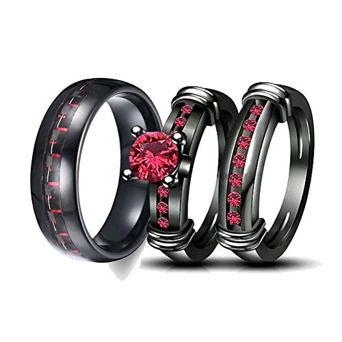 (Gy Jewelry Two Rings His and Hers Wedding Ring Sets Couples Rings Women's 2PC Black Gold Filled Red Agate Cubic Zirconia Wedding Engagement Ring Bridal Sets & Men's Stainless Steel Wedding Band)