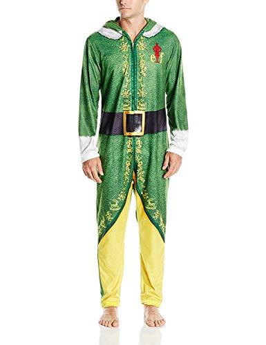 Warner Bros. Men's Buddy The Elf Hooded Uniform Union Suit  Green Velvet  M -