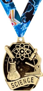 ACADEMIC Medals - 2'' Gold Science Medals 50 Pack