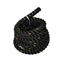 Da Vinci Black 1.5 inch thick, 50 foot long, Heavy 28 pound weight Poly Dacron Battle Rope for Crossfit, Strength & Fitness Training