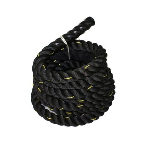 Da Vinci Black Battle Rope: 1.5 inch thick, 50 foot long, Heavy 28 pound weight Poly Dacron Workout Rope for Crossfit, Strength & Fitness Training by Da Vinci