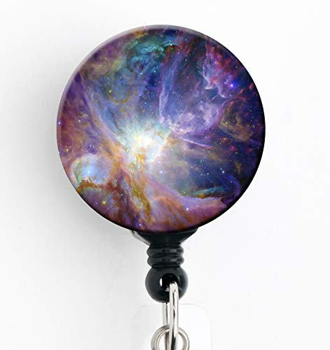 (Galaxy Blues and Green - Retractable Badge Reel with Swivel Clip and Extra-Long 34 inch Cord - Badge Holder/Sky/Stars)