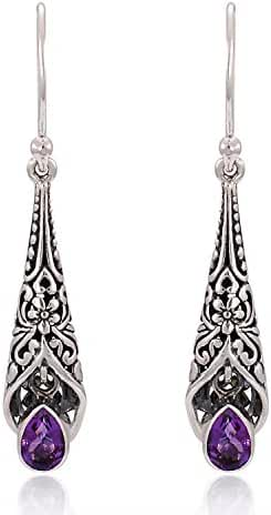 925 Sterling Silver Bali Detailed Filigree Genuine Purple Amethyst Stone Dangle Earrings