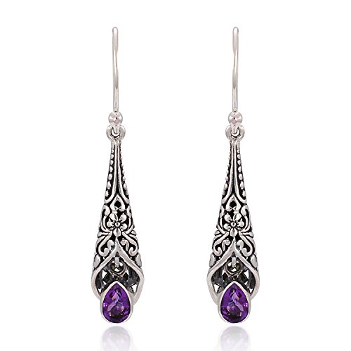 (925 Sterling Silver Bali Detailed Filigree Genuine Purple Amethyst Stone Dangle Earrings)
