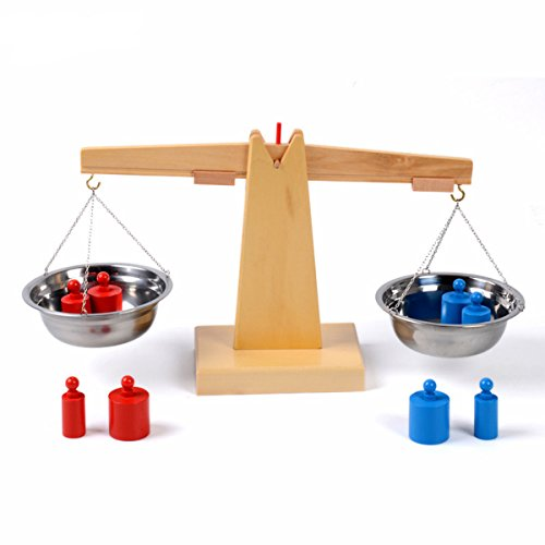 Fly whale Montessori Wooden Balance Beam Weighing Scale Early Childhood Education Tools Montessori Early Development Toy Montessori Materials from Fly whale