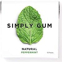 Simply Gum, Peppermint Chewing Gum, Vegan, Non GMO, 15 Pieces, Pack of 6