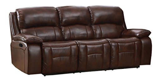 Amax Leather Westminster I Reclining 3 Piece Sofa Set, Brown