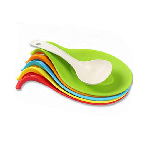 [5-Pack] Silicone Spoon Rests for holding any Kitchen Utensil. Set of 5 color Blue,Yellow,Green,Red,Green (Value Pack)