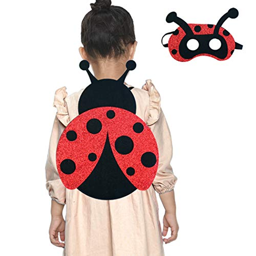 Ladybug Wings Costume for Toddler Girls with Mask for Kids Halloween Glitter Dress-up Red Black -