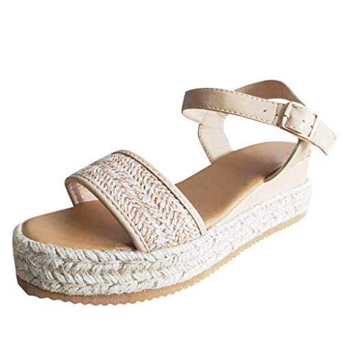 Platform Wedge Sandals,Women Bohemian Casual Open Toe Ankle Strap Buckle Espadrille Roman Shoes (US:9, Beige)