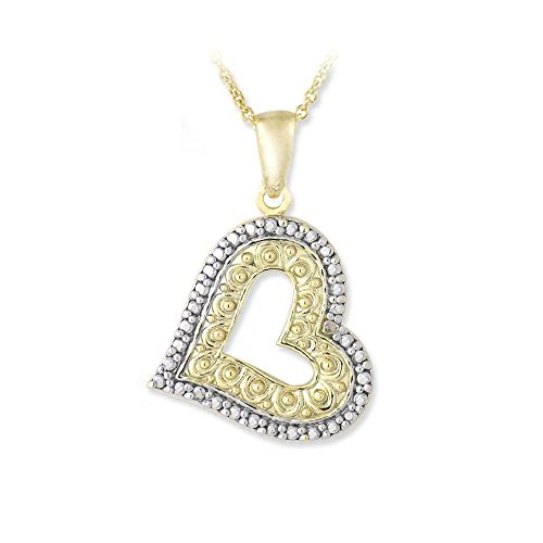 - Glitzs Jewels Gold Tone Over Sterling Silver Simulated Diamond Accent Floating Heart Necklace