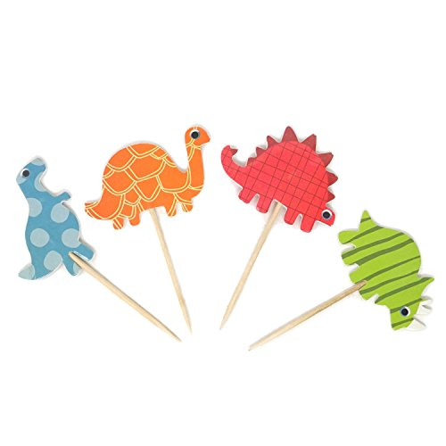 Honbay 48PCS Double Sided Dinosaur Cupcake Toppers Food Fruit Picks -
