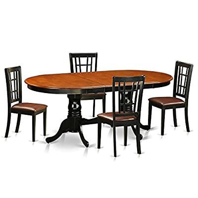 East West Furniture PLNI5-BCH-LC 5 Piece Dining Table with 4 Solid Wood Chairs Set, Black/Cherry Finish - This 5 piece dining set Includes dining table and 4 faux leather seat dining room chairs finished in Black and Cherry Formal dining table gives you an integrated 18 inch self storing extension Butterfly Leaf that Is stored right below the table top 100% solid wood from table top to table legs. No heat treated pressured wood like MDF, particle board or verneer top fabricated - kitchen-dining-room-furniture, kitchen-dining-room, dining-sets - 41WU%2BvZDQTL. SS400  -
