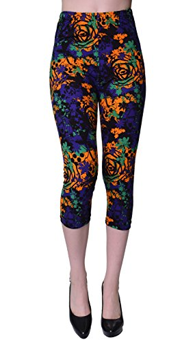 VIV Collection Regular Size Printed Brushed Capris (Bengal (Paisley Cropped Pants)